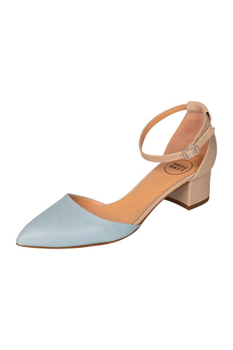 Italian leather beige and sky blue low block heel open sided pump with mary-jane strap