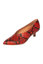 Italian leather red snakeskin kitten heel pumps with pointed toe and deep V cut