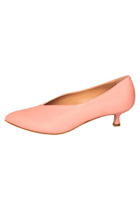 Italian leather salmon pink kitten heel pumps with pointed toe and deep V cut