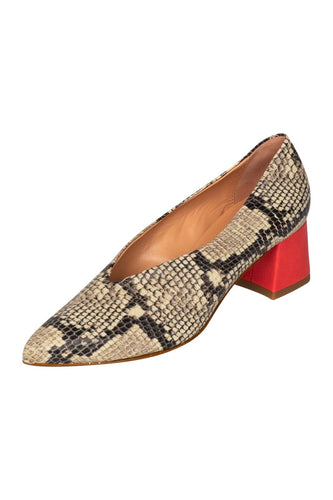 Italian leather deep V cut pump with low block heel in  snakeskin with coral  heel