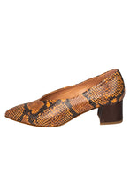 Italian leather deep V cut pump with low block heel in brown snakeskin with metallic brown heel