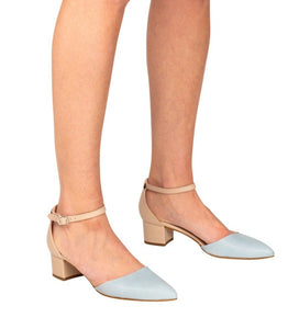Italian leather beige and sky blue low block heel open sided pump with mary-jane strap on model