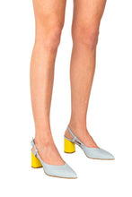 Italian leather sky blue and lemon sling back block high heel on model