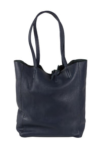 Italian leather shopper tote bag tie top navy