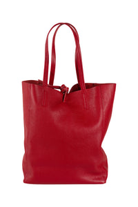 Italian leather shopper tote bag tie top red