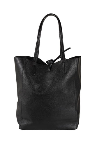 Italian leather shopper tote bag tie top black