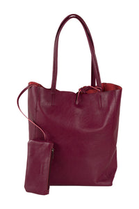 Italian leather shopper tote bag tie top bordeaux with attached internal wallet pouch