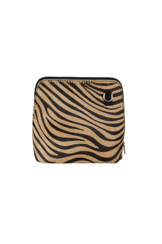small tan black zebra print Italian leather cross body bag