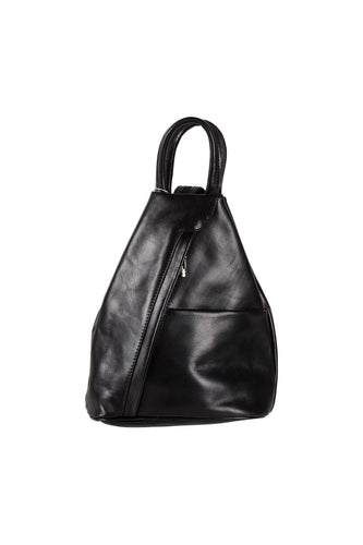 black Italian leather medium backpack day bag front