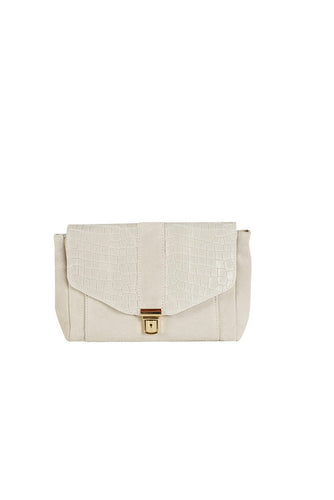 rectangular suede and croc print Italian leather small handbag cream