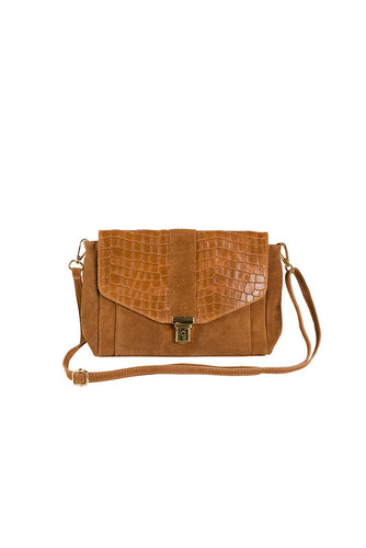 rectangular suede and croc print Italian leather small handbag tan