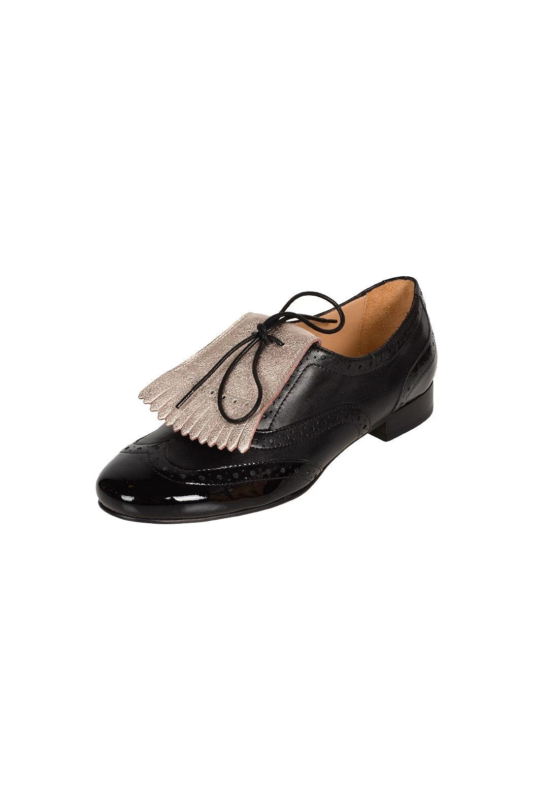 Black italian leather brogues with detachable and reversible nude metallic fringe