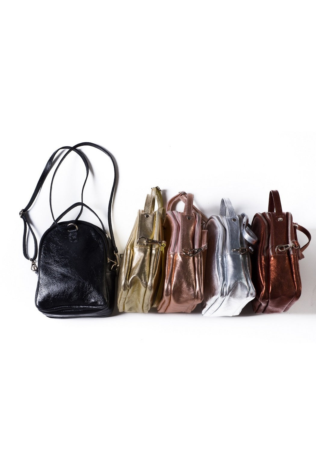 metallic leather back pack small mini leather backpack italian hand made leather backpack