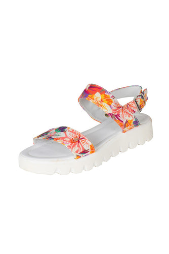 white floral leather sandal with thick white sole italian leather