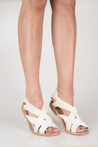 Cream suede and leather Italian cross strap back zip sandal