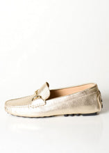 metallic gold Italian leather driver loafer with gold buckle detail