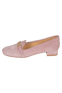 Italian pale pink suede low heeled loafers with gold buckle detail