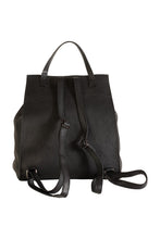 Black Italian leather drawstring top backpack back view