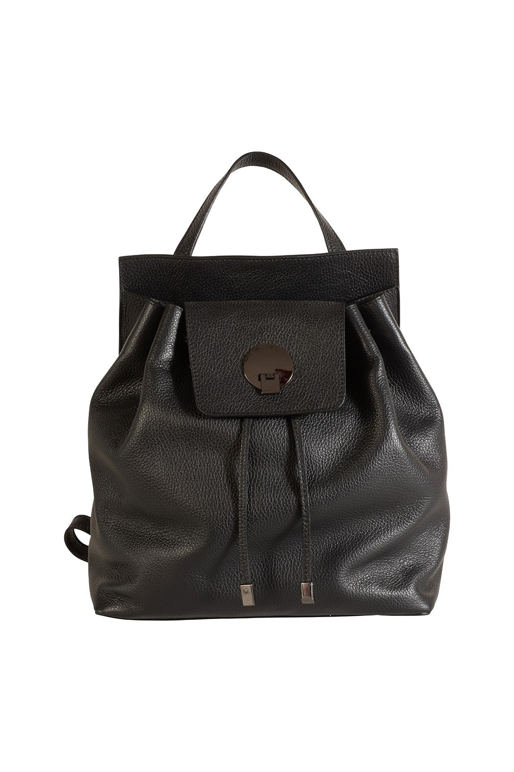Black Italian leather drawstring top backpack
