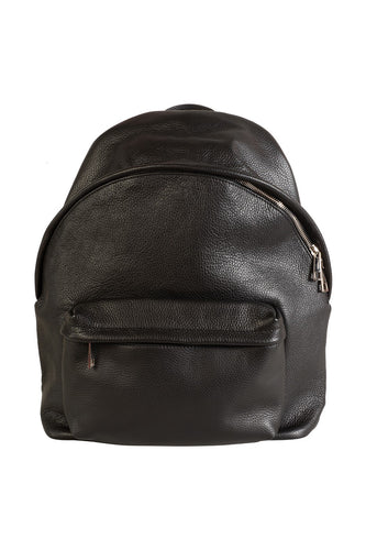 large black italian leather backpack front view