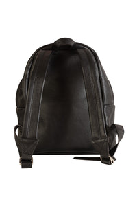 large black italian leather backpack back view