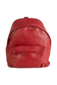 large red italian leather backpack front view