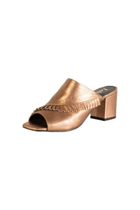 metallic bronze Italian leather peep toe block heel mules