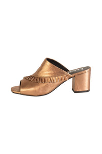 Lokas Metallic Bronze Heeled Mules