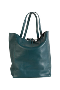 Italian leather shopper tote bag tie top teal