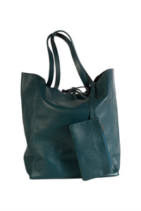 Italian leather shopper tote bag tie top teal with attached internal wallet pouch