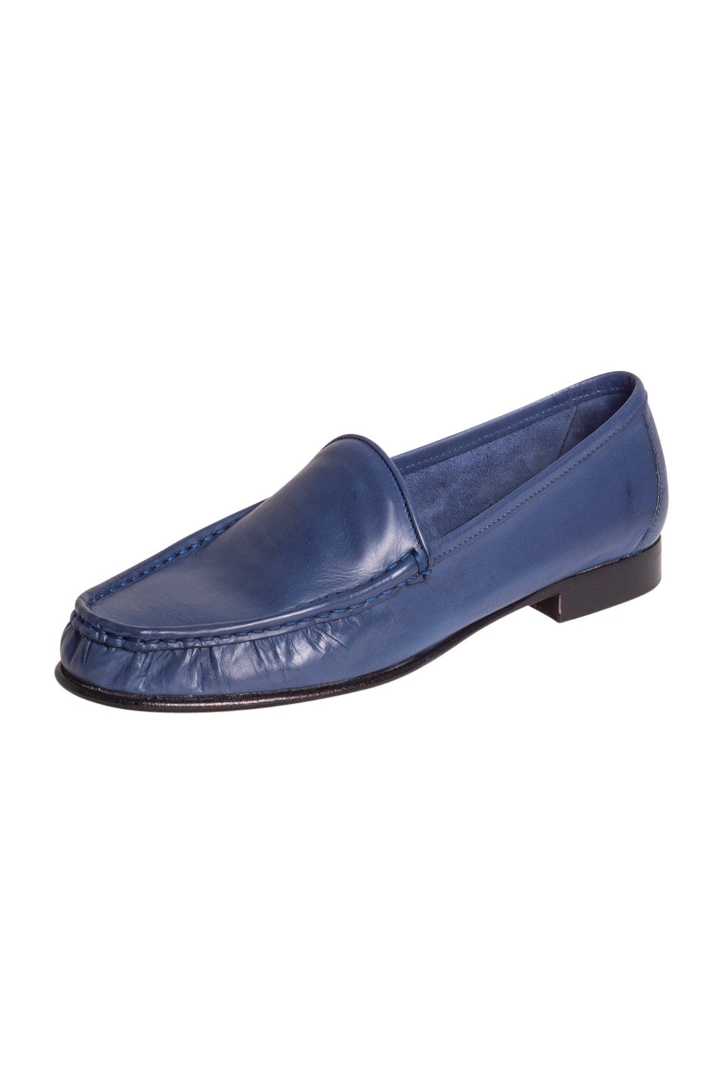 Blue Italian leather loafers with leather sole