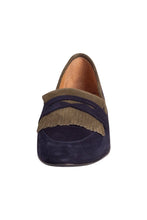 navy and green Italian suede penny loafer with fringe detail