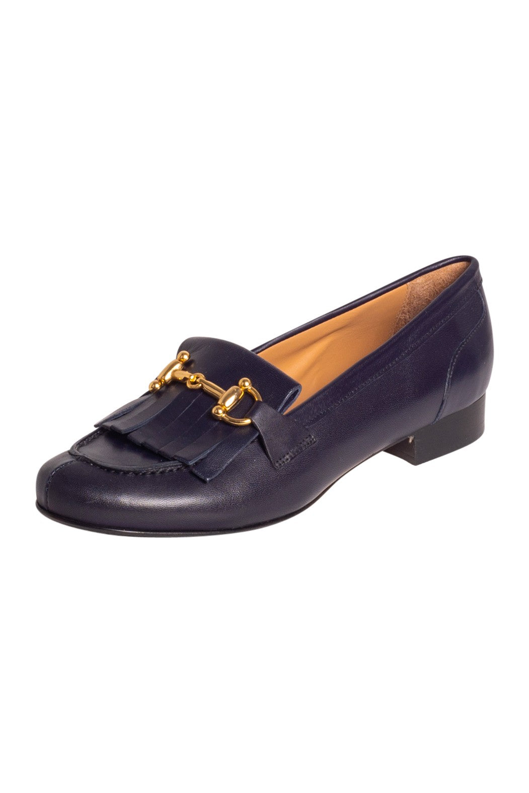 Navy Italian leather loafers with fringe and gold buckle detail