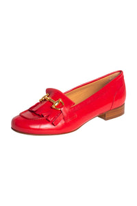 Red Italian leather loafers with fringe and gold buckle detail