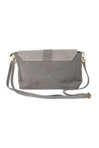 rectangular suede and croc print Italian leather small handbag grey