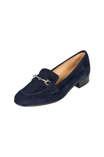 Italian navy blue suede classic loafer