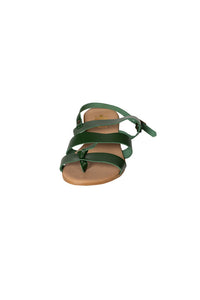 bottle green leather three strap casual sandal