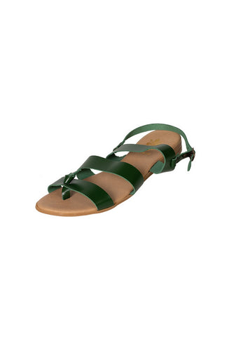 leather sandal three strap casual bottle green less than 100