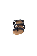navy leather sandal three strap casual sandal