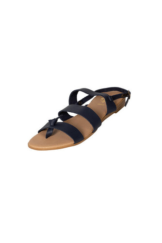 black leather three strap casual sandal