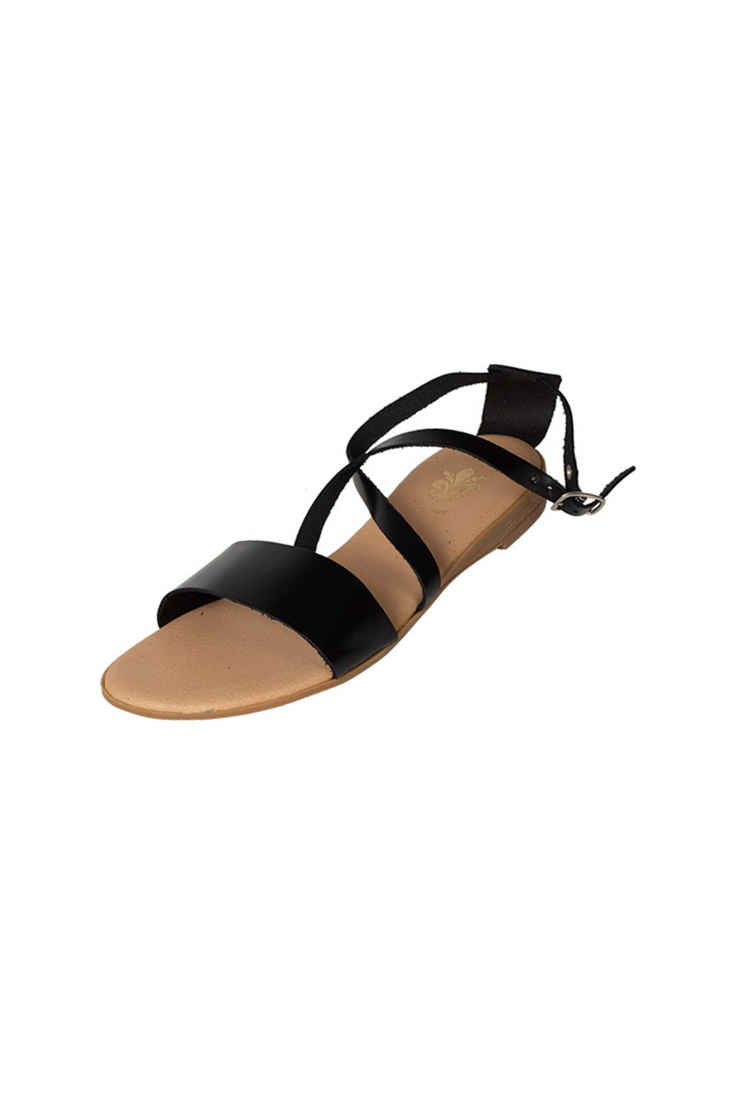 casual black leather flat sandal cross over strap