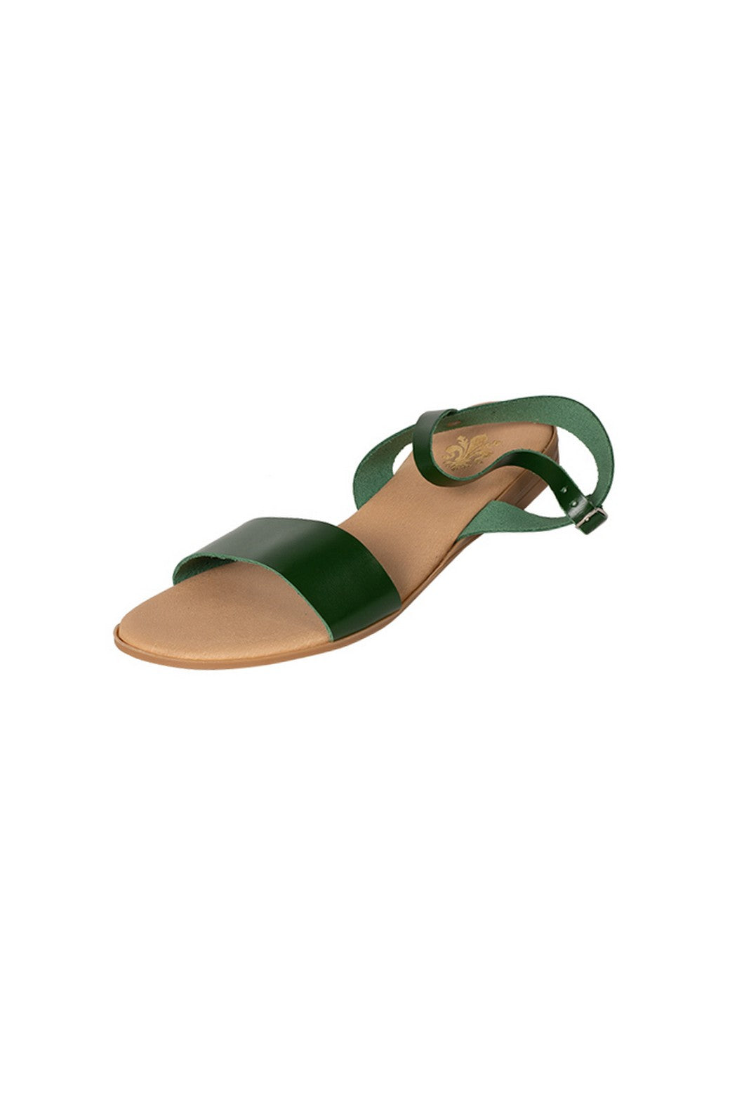 Italian leather bottle green casual sandal with ankle strap