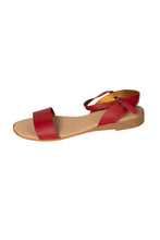 Italian leather red casual flat sandal with ankle strap