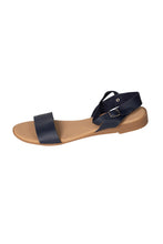 Italian leather navy casual flat sandal with ankle strap