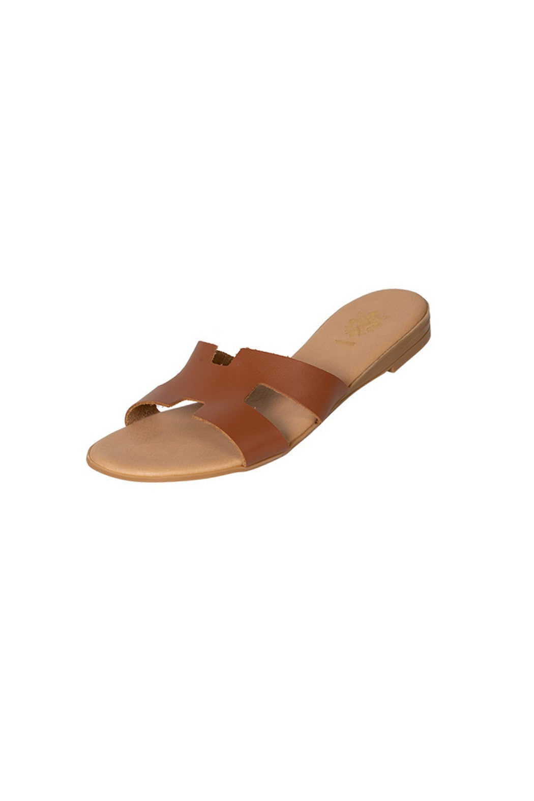 Italian Leather flat tan H slides