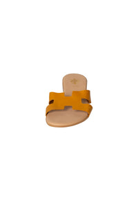 Italian Leather flat mustard H slides