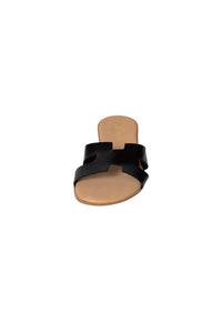 Italian Leather Slides flat black H slides