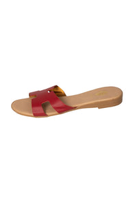 Italian Leather flat red H slides