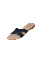 Italian Leather flat navy H slides