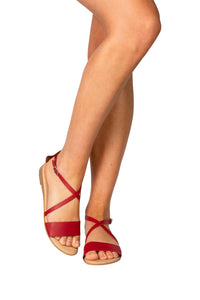 red Italian leather flat casual sandal
